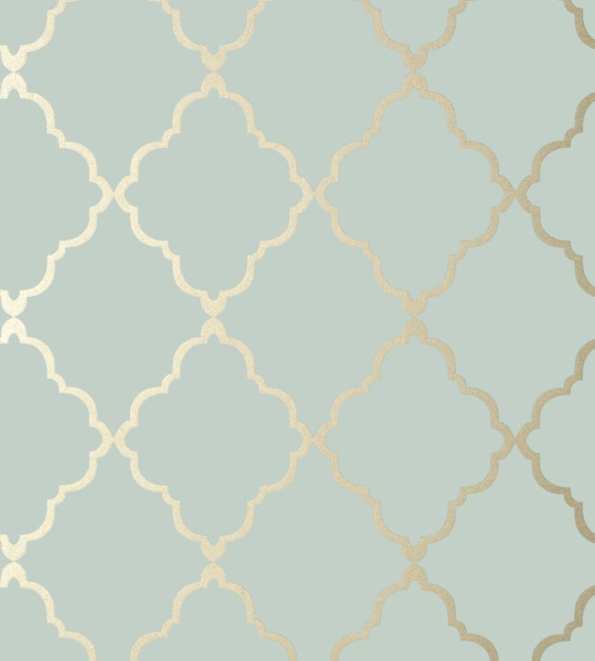 Klein Trellis Metallic Gold On Aqua Wallpaper