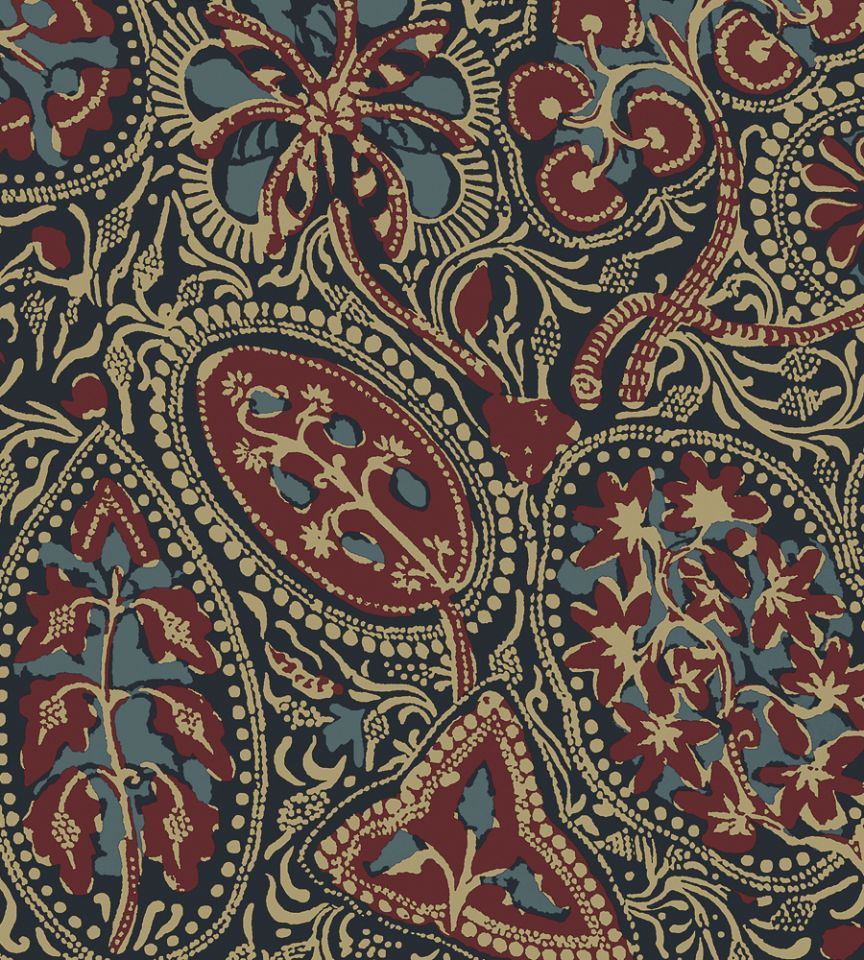 Thibaut Fabrics And Wallpapers: Cochin - Navy/Red Wallpaper