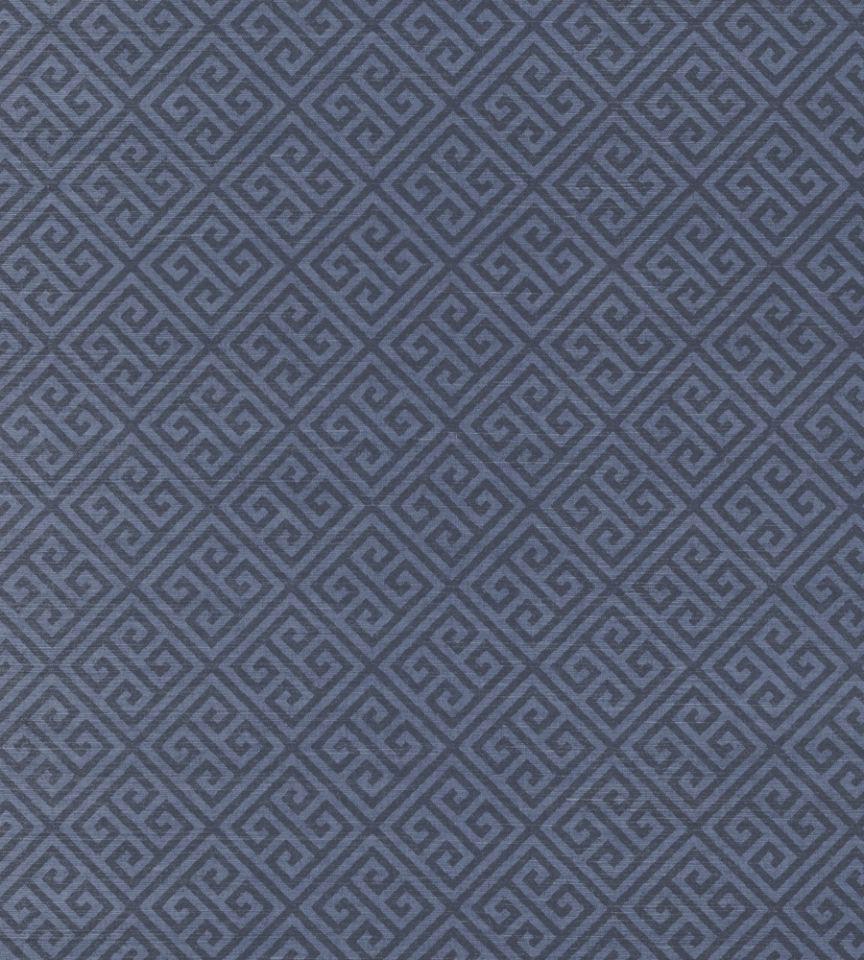 Navy Grasscloth Wallpaper: Maze Grasscloth - Navy Wallpaper