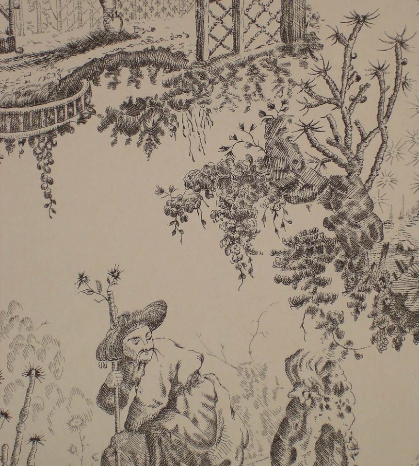 Chinese Toile - Charcoal Black
