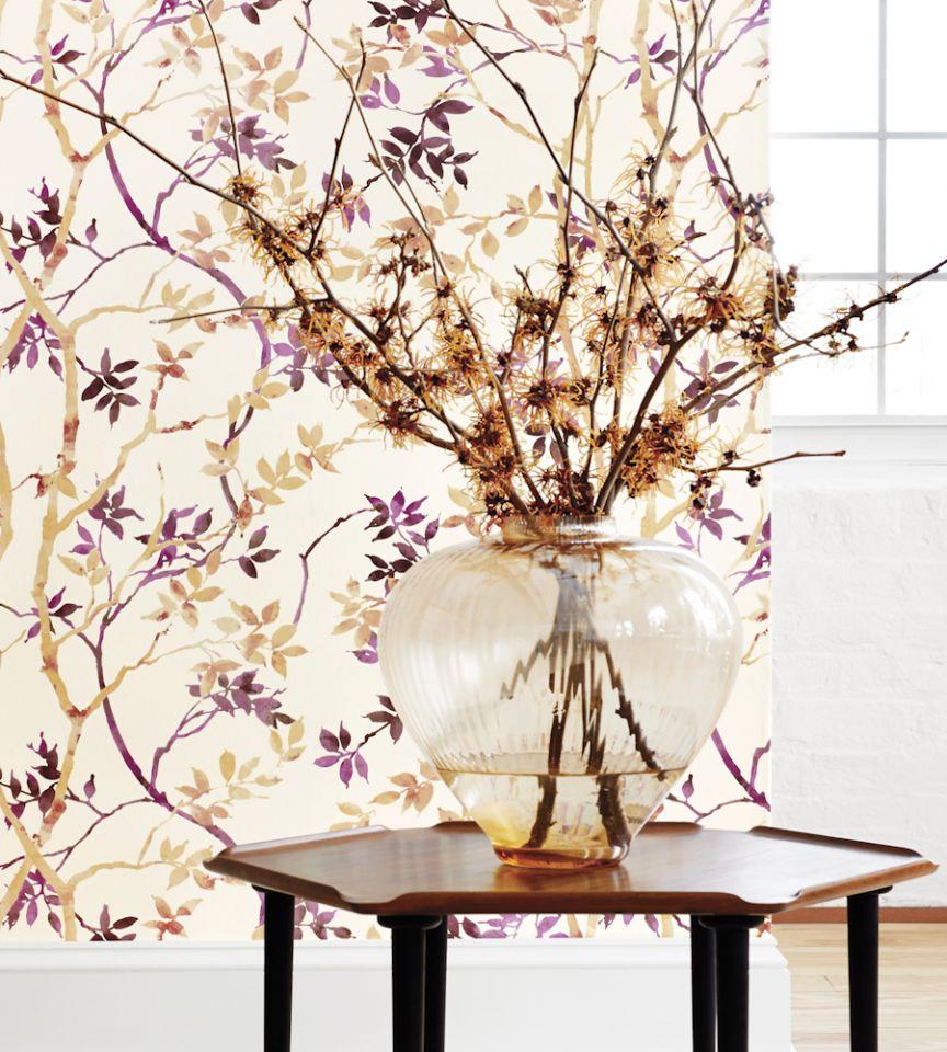 Tyndall - Magenta on Cream wallpaper | Zola Wallpaper ...
