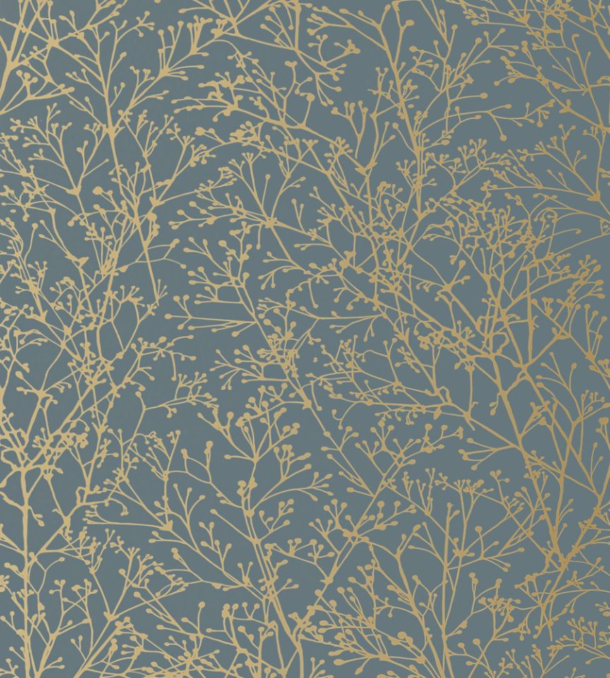 Zola Gold On Mineral Blue Wallpaper Zola Wallpaper Anna French