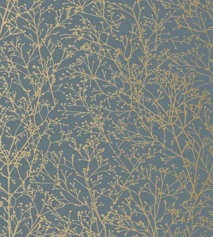 Zola - Gold on Mineral Blue wallpaper | Zola Wallpaper ...