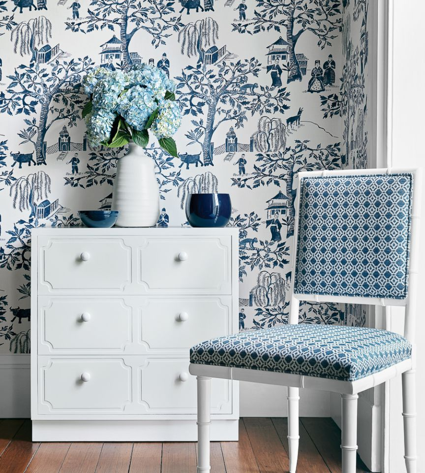 Willow Wood - Navy wallpaper | Watermark | Anna French