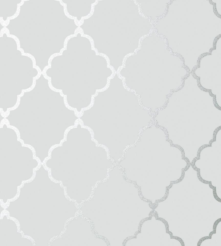 Klein trellis silver on grey wallpaper seraphina for Grey and white wallpaper