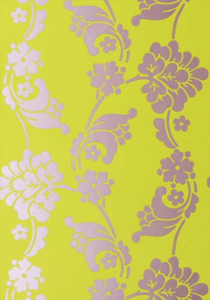 Velvet Jacquard Lime Green And Purple Wallpaper Wild Flora Anna French