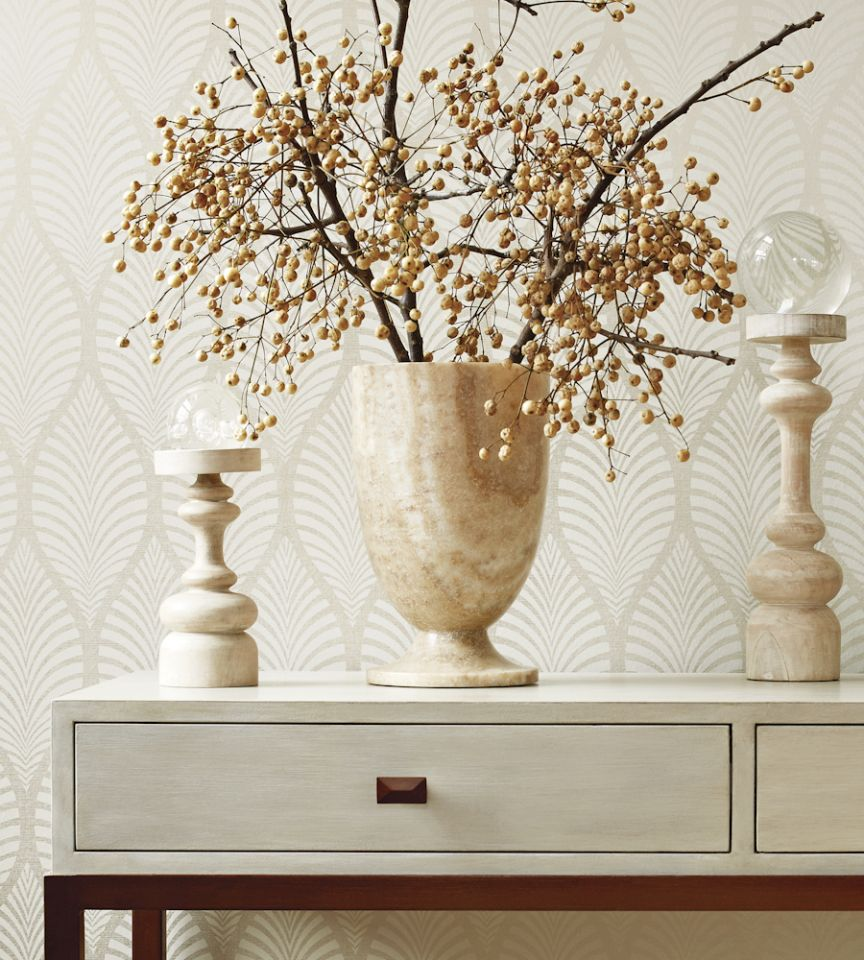 Deilen - Cream on Metallic Gold wallpaper | Zola Wallpaper ...