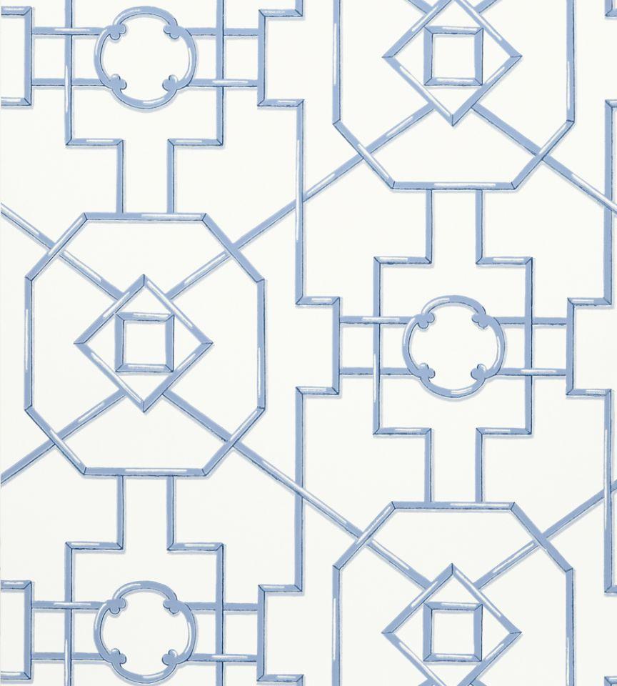 Bamboo Lattice Blue Wallpaper Enchantment Thibaut