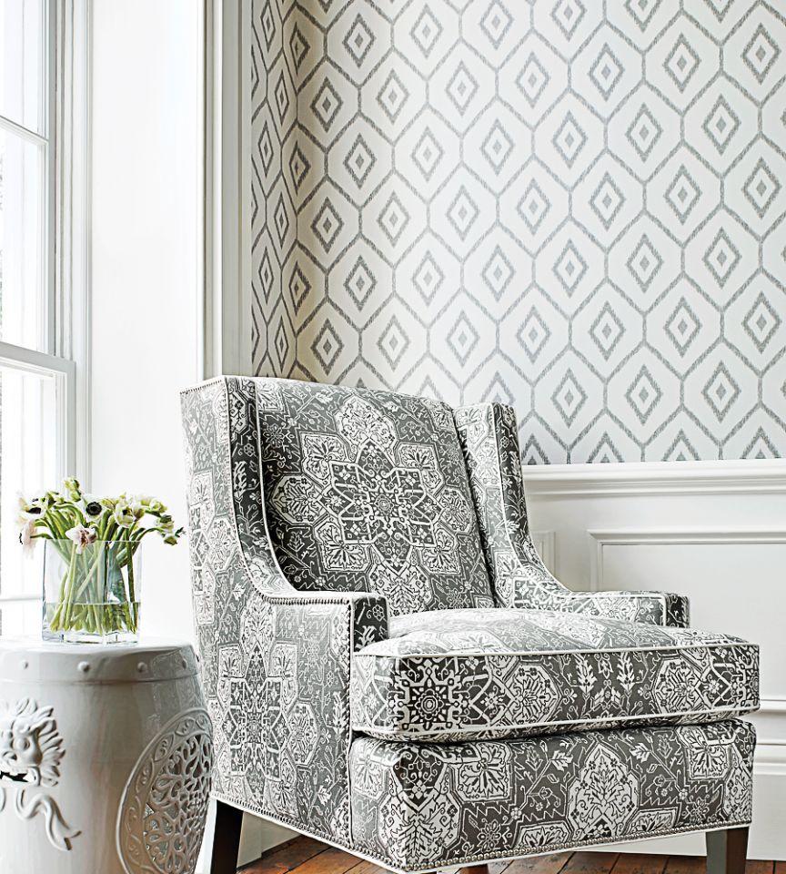 Bari Ikat Grey Wallpaper Caravan Thibaut