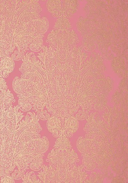 Auburn Metallic Gold On Pink Wallpaper Serenade Anna French