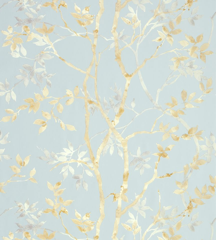 Tyndall - Neutral on Blue wallpaper | Zola Wallpaper ...