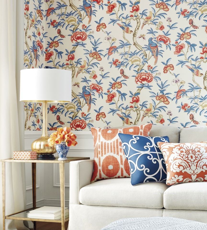 Giselle Blue Coral Wallpaper Imperial Garden Thibaut