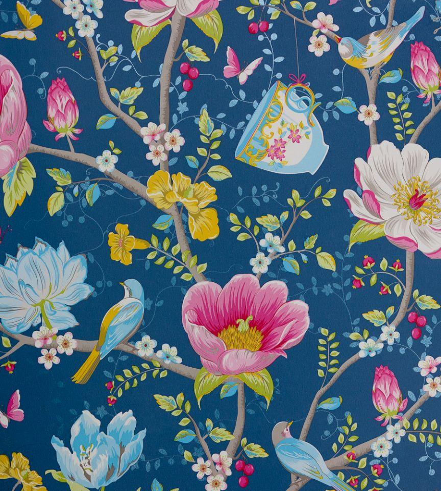 Chinese garden dark blue wallpaper pip 3 brian yates for Pip probert garden designer